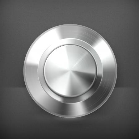 silver circle: Bottone in metallo Vettoriali