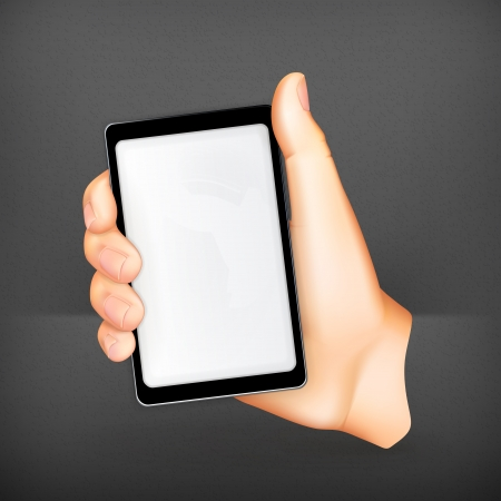 holding smart phone: Mobile phone in hand Illustration