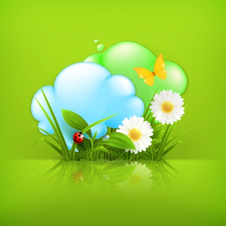 Chamomile and clouds Vector