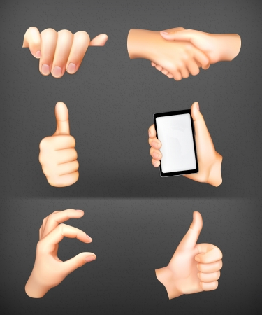 hand showing thumbs up: Hands set Illustration