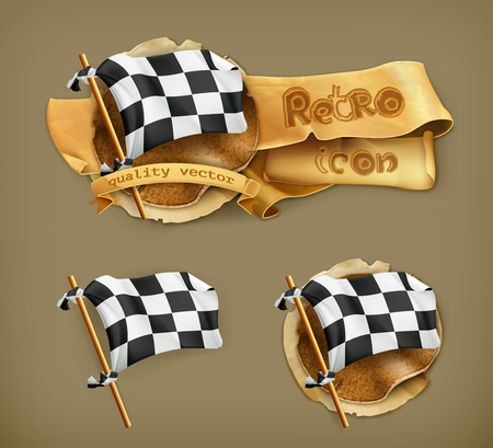 Checkered flag, icon Vector