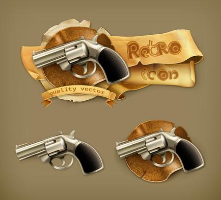 Gun, retro icon Vector