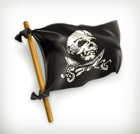 to rob: Jolly Roger, vector icon Illustration