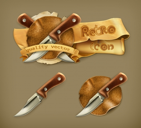 Knife, retro icon Vector