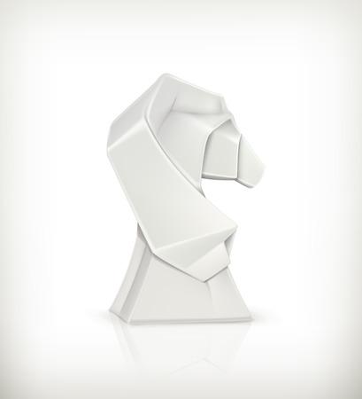 Paper horse, origami Vector