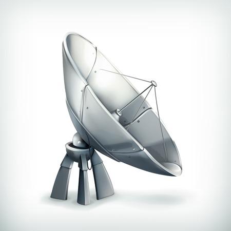 television aerial: Parabolic antenna, icon Illustration