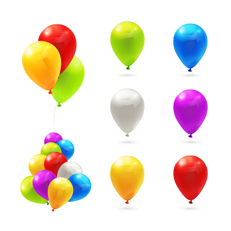 Toy balloons, set of icons Vector