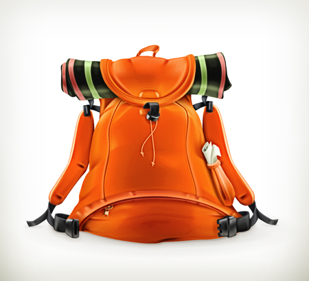 mochila de viaje: Mochila de viaje, naranja Vectores