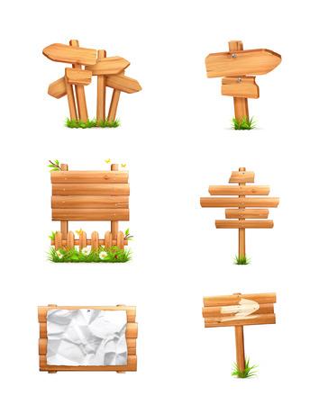 木製の標識セット  イラスト・ベクター素材