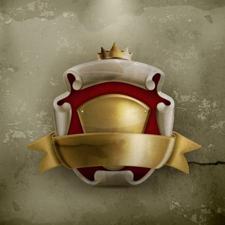 corona rey: Abrigo abstracto antiguo de armas