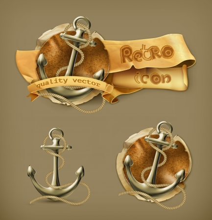 leather coat: Anchor icon Illustration