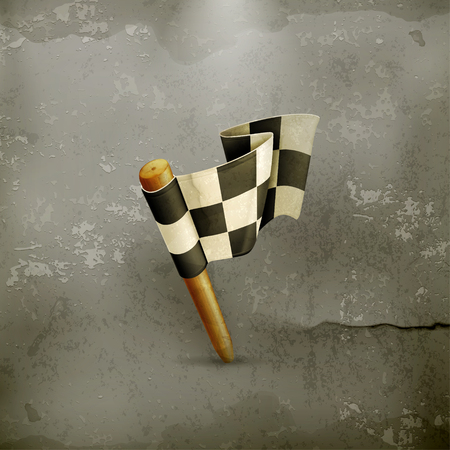 old mark: Checkered flag old style Illustration