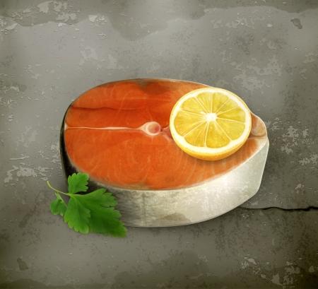 fish steak: Fish steak with seasoning old style