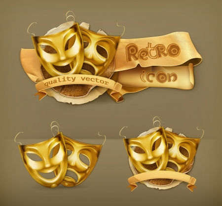 tragedy mask: Gold theater masks icon