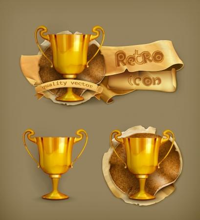 award trophy: Gold trophy, old-style Illustration