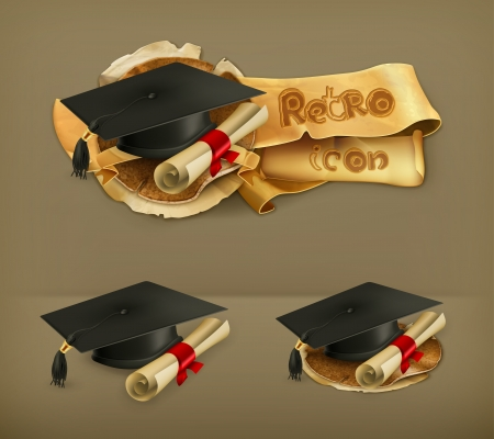 credential: Graduation cap and diploma icon