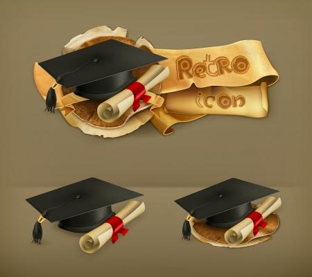 academic achievement: Graduation cap and diploma icon