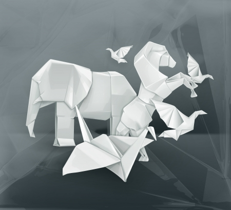 Origami animals illustration Vector