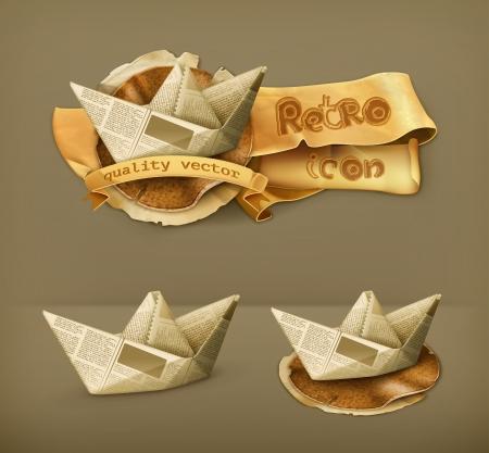 papier pli�: bateau de papier, ic�ne