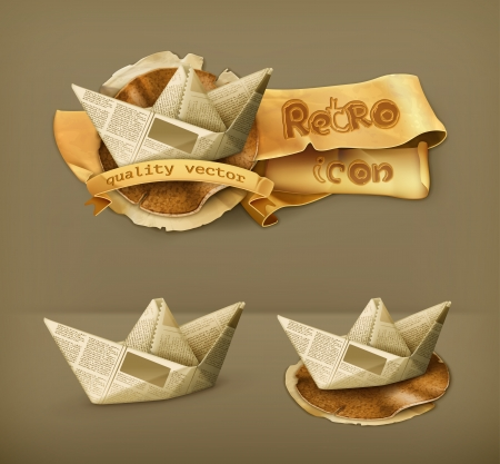 old boat: Paper boat, icon