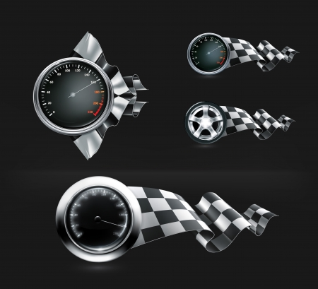 Racing emblems on black Stock Vector - 22222013