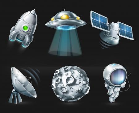 luna caricatura: Espacio, icono situado en negro Vectores