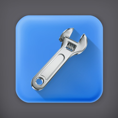 adjustable: Adjustable wrench, long shadow vector icon