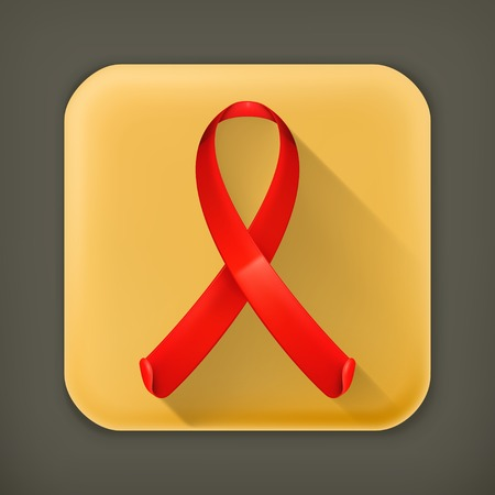 hiv awareness: AIDS red ribbon, long shadow vector icon