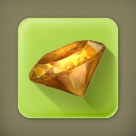 Amber yellow, long shadow vector icon