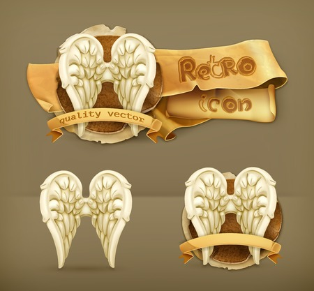 3d dove: Angel wings, vector icon