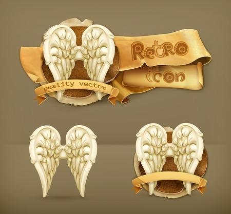 alas de angel: Las alas del ángel, icono del vector