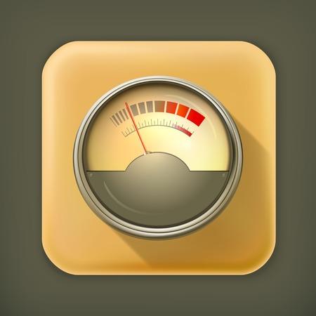 Audio Gauge, long shadow vector icon Vector