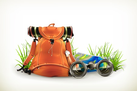 Backpacking, vector illustration Ilustrace