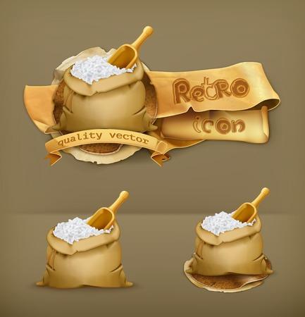 rice grain: Bag of rice, vector icon Illustration