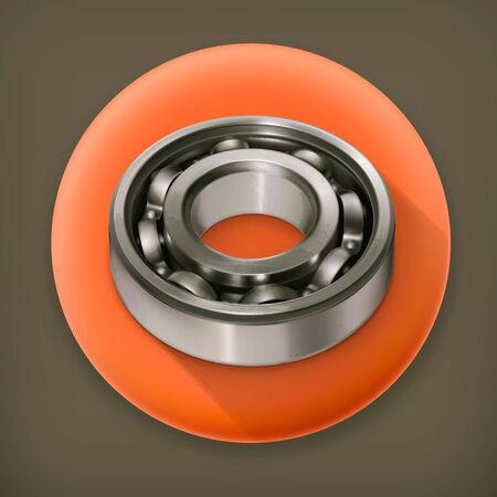 Ball bearing, long shadow vector icon Vector