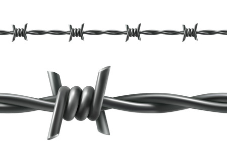iron fence: Barbed wire seamless vector