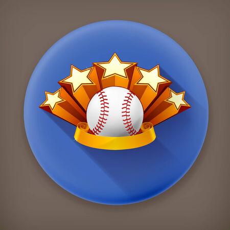 Baseball Emblem, long shadow vector icon Vector