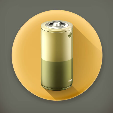 high powered: Battery, long shadow vector icon Illustration