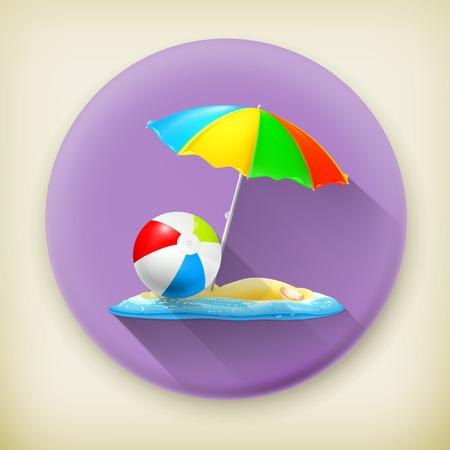 long play: Beach, long shadow vector icon