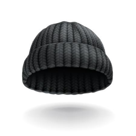 stocking cap: Beanie, black cap vector icon