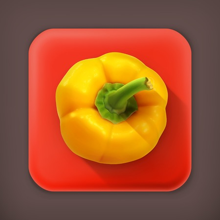 bell pepper: Bell pepper, long shadow vector icon Illustration