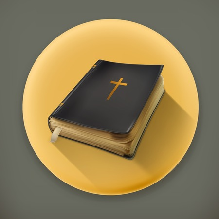 baptist: Bible, long shadow vector icon Illustration