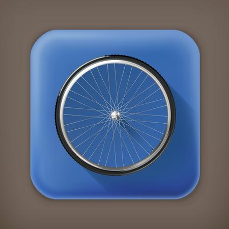 velocipede: Bicycle wheel, long shadow vector icon Illustration