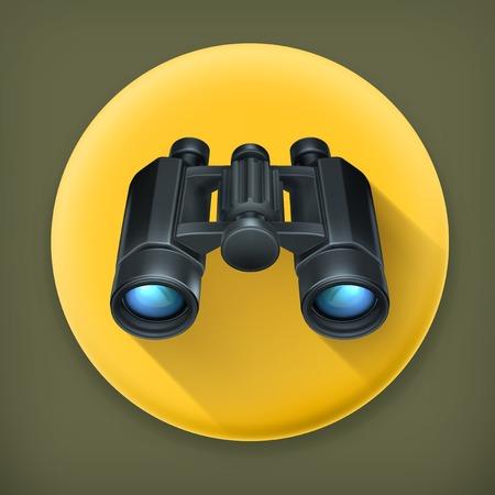 Binoculars, long shadow vector icon Vector