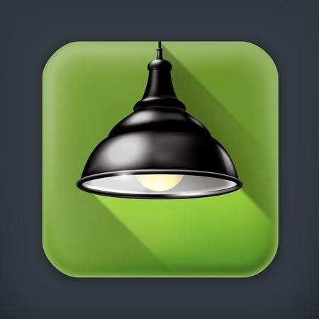 lamp vector: Black Lamp, long shadow vector icon
