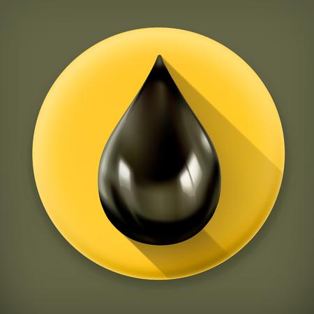 Black oil drop, long shadow vector icon Vector