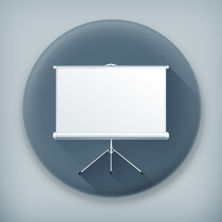 Blank Projection screen, long shadow vector icon Illustration