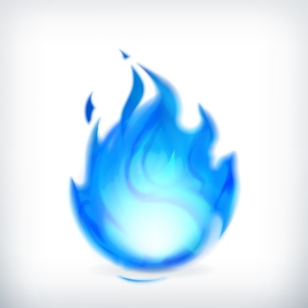 fireballs: Blue fire, vector icon Illustration