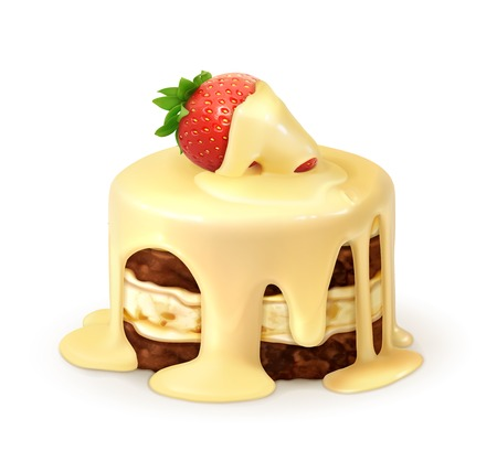 Cake with strawberry in white chocolate, detailed vector Vector
