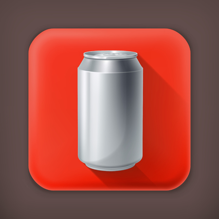 tonic: Drink Can, long shadow vector icon Illustration